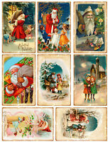 Victorian Father Christmas Mix Glossy Finish Card Topper - Crafts Embellishment