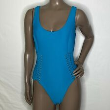 Medium Red Carter Textured Lattice Grommet Lace Up Swimsuit Blue/Laser NWOT