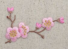 Iron On Patch Embroidered Applique Pink Flowers Cherry Blossom Brown Stem RIGHT