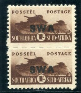 S.W.A. 1943 War Effor 1s brown bilingual pair superb MNH. SG 130. Sc 151.