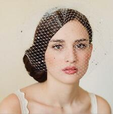 New Ivory Wedding Fascinator Crystals Birdcage Bridal Bridesmaid Veil with comb