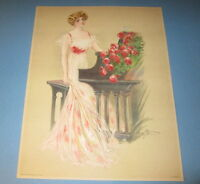 Old Vintage 1909 Antique VICTORIAN PRINT - Lady MUSICIAN - Piano - Red Roses