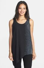 NWT$248 Eileen Fisher Dapple Printed Silk Crepe Black U-Nck Asym Tunic Shell L