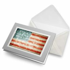 Greetings Card (Grey) - Distressed USA Flag America American  #8316