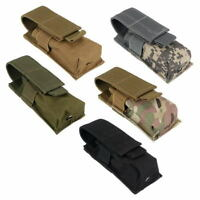 Molle Tactical Single Pistol Magazine Pouch Flashlight Sheath Airsoft Ammo Pouch