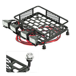 Luggage Roof Rack with 4 LED Light Bar for 1:10th RC Vehicles Rock Crawler Rally