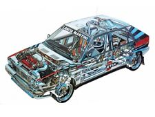 A3 Lancia Delta HF Integrale Rally Cutaway Drawing Wall Poster Art Picture Print