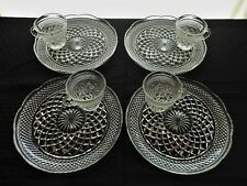 """Anchor Hocking Glass 4 Clear Wexford (9 1/2"""" Plate 8 oz Cup) Snack Luncheon Sets"""
