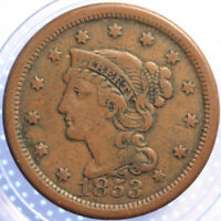 "1853 ""BRAIDED HAIR"" LARGE CENT,  ANOTHER BETTER CLASSIC OLD COIN!"