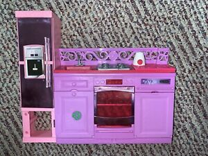 2013 Barbie DreamHouse Replacement Parts Kitchen, Refrigerator, Sink And Stove