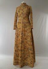 Vintage 70s Maxi Dress Long Victorian High Neck Pastels Uk 10