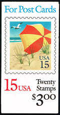 #BK17O 1990 2 PANES OF #2443a 15c BEACH UMBRALLA $3  BOOKLET ISSUE