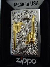 Zippo ® Golden Revolver Gun Pistole reines FEINGOLD EMBLEM PLATIN -  Neu/New OVP