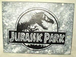 Canvas Painting Jurassic Park Movie Grey Speckled Art 16x12 inch Acrylic