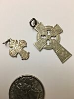 2 Vintage Charms or Pendants of Crosses