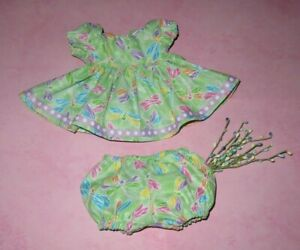 """Handmade Doll Clothes for 12"""" - 14"""" Baby Dolls - """"Pretty Dragonflies"""" Dress Set"""