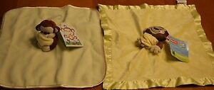 PAIR OF FISHER PRICE YELLOW MONKEY SECURITY BLANKETS EACH ONE DIFFERENT NEW TAGS