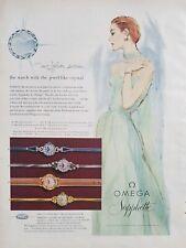 1955 Omega Sapphette women's wrist watch Jewel like Crystal redhead art ad