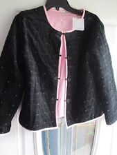Jillian Jones Woman Black Pink Embroidery Trim Lined Asian Blazer Jacket M NWT