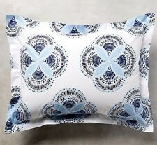 John Robshaw FIRAT KING SHAM White Blue 100% Cotton NEW