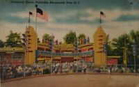 Vintage  Linen Postcard 1930's Palisades Amusement Park NJ Cockeyed Circus