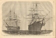 Atlantic Telegraph Cable, Agamennon, Niagara In Mid Ocean, 2pg 1858 Print