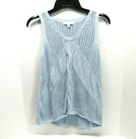 CAbi Silk Linen Blend Knit Sleeveless Sweater Vest Tank Sky Blue Size M