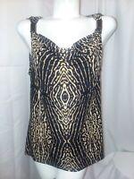 KENNETH COLE Top Women's Size XL Black Brown Animal Print Drape Neck Blouse