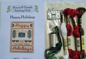 Elizabeth's Designs- HAPPY HOLIDAYS -Cross Stitch Kit w/linen,DMC,charms,braid+