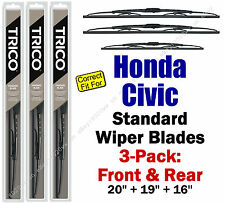 Wiper Blades 3-Pack Front Rear Standard fit 1988-1991 Honda Civic 30200/190/160