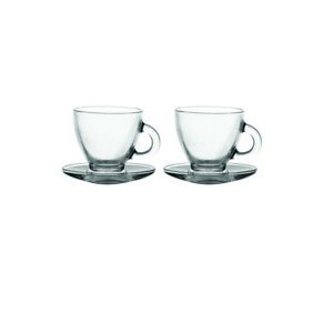Ravenhead Entertain Set of 2 Glass Cappuccino Cup & Saucers 20cl  [1054]