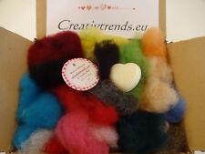 Märchenwolle zum Filzen gemischt buntes Päckchen Kammzugwolle Vlieswolle im Band