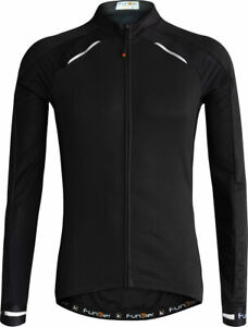 Funkier Gents Thermal Long Sleeve Cycling Jersey Medium Reduced To Clear Black