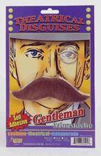 Mens Adult GENTLEMAN BROWN Moustache Costume Accessory