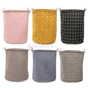 Washing Dirty Clothes Laundry Basket Canvas Toy Baby Hamper Storage Bin Bag UK