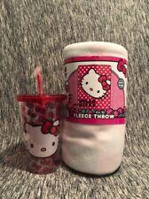 Bundle - Hello Kitty Bows Cold Tumbler w Straw 12 oz & Fleece Throw 45x60