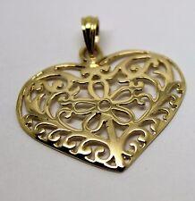 KAEDESIGNS NEW GENUINE 9CT LARGE YELLOW GOLD FILIGREE HEART PENDANT