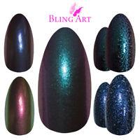 Bling Art False Nails Blue Green Purple Chameleon Colour Change Fake Medium Tips