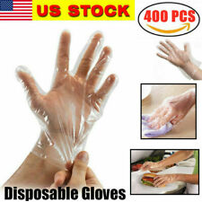 400PCS Plastic Clear Disposable waterproof Gloves Food Cleaning Catering Beauty