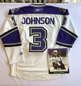 EUC Los Angeles LA Kings Jack Johnson #3 Authentic White Jersey Reebok Crown Sm