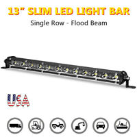 13inch LED Light Bar Flood Work Slim Single Row Fog Offroad Truck ATV SUV 4WD US