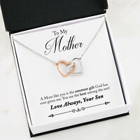 Interlocking Heart Necklace with Poem - Best Birthday Gift from Son to Mother