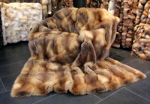 088 Red fox fur throw - Real Fur Rug Genuine Fox Fur Blanket Real Fur Bedspread