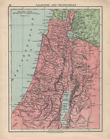 1925 Landkarte ~ Palästina & Transjordon ~ Dead Sea Judaea Samaria Galilee