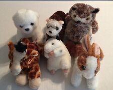 6 Aurora Plush: Otter, Owl, Giraffe, Polar Bear, Hamster, Rabbit