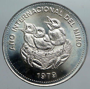 1979 COSTA RICA Year of the Child UNESCO VINTAGE Silver 100 Colones Coin i90564