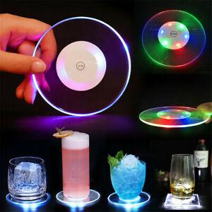 Acrylic Crystal Ultra-Thin LED Light Coaster Bar Cocktail Flash Base Mug Cup Mat