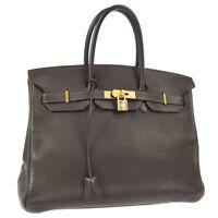 HERMES BIRKIN 35 Hand Bag Dark Brown Veau Crispe Togo France JT07208k