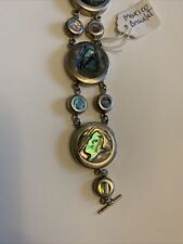 green abalone shell link bracelet Mexico sterling silver and paua