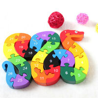 Snake Shape Kids Wooden Block Toys Alphabet Number Building Jigsaw Puzzle !